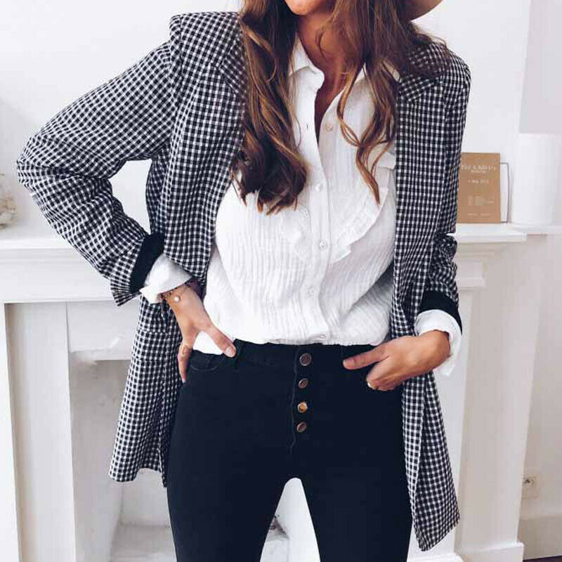 Fashion Women Plaid OL Blazer Elegant Long Sleeve Check Jacket Lapel Autumn Winter Tops Slim Gingham Coat Outwear Streetwear New
