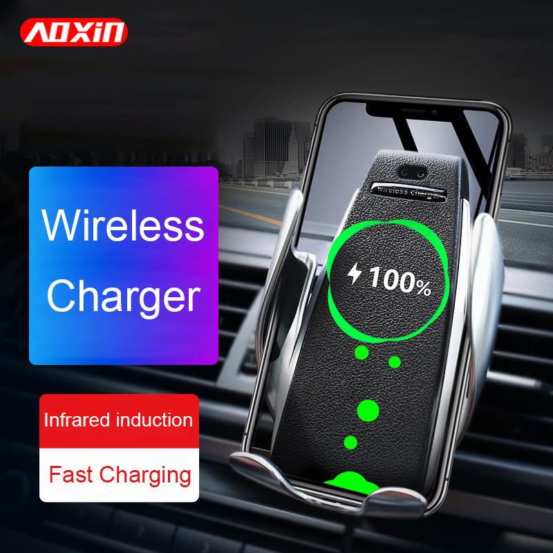 AOXIN 10W Qi Fast Wirless Charging Car Phone Holder For iPhone Xs Max XR X Samsung S10 S9 Intelligent Wirless Charging Charger