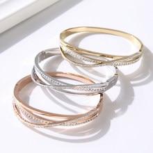 Joyería superllamativas, pulsera curva de circonio para mujer, pulsera de titanio y acero, pulsera de alta calidad, regalo de amor para mujer