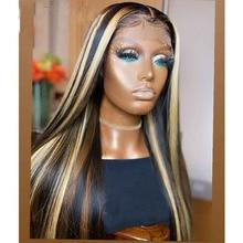 Remy brasileiro ombre brown destaque cor natural linha fina de seda em linha reta transparente 13x 4/6 perucas dianteiras do laço com cabelo do bebê