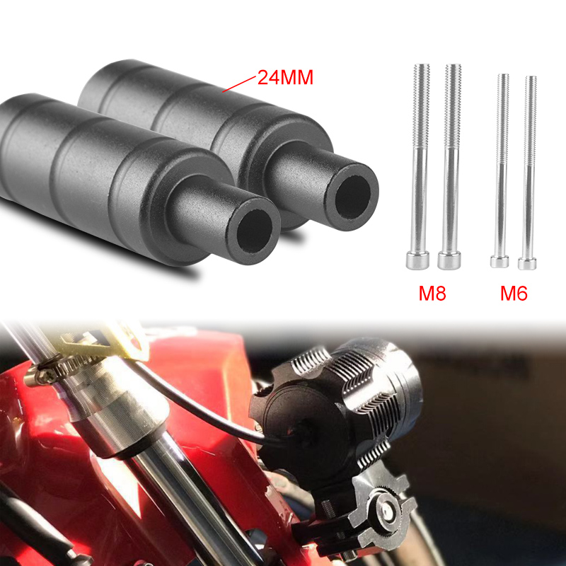 2Pcs Motorcycle Fog Spot Light Fixed Brackets Headlight Mount Holder M6 M8 Bolt