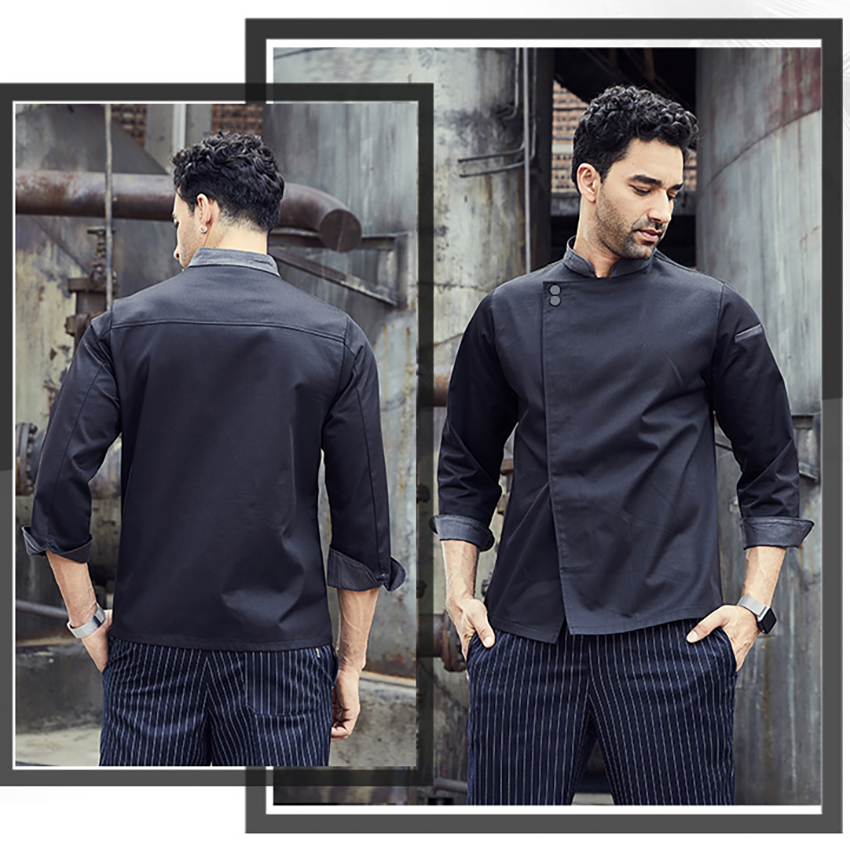 Long Sleeves Restaurant Uniform Stand Collar Chef Jacket Coat Kitchen Work Wear Catering Cook Baking Pants Men Pocket Clothes