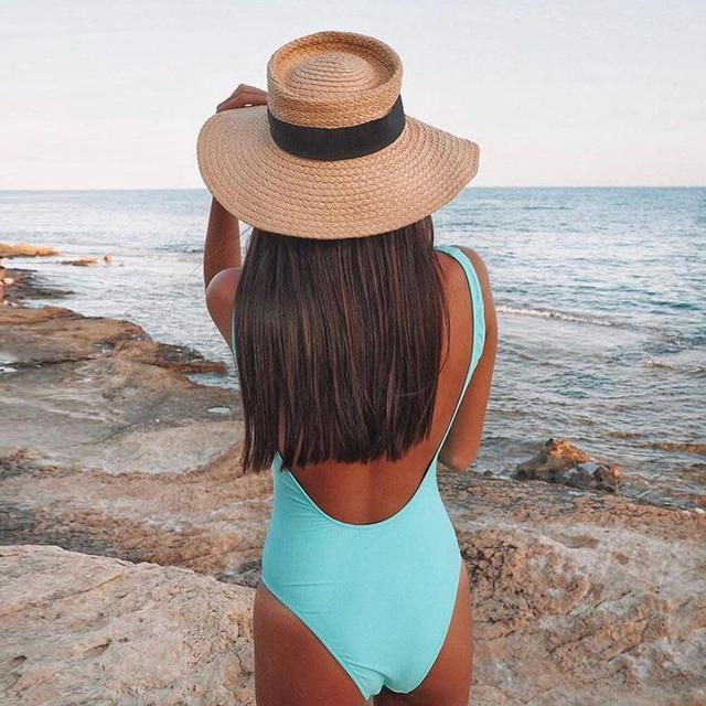 2020 stroje kąpielowe w paski jednoczęściowy strój kąpielowy kobiety Backless Monokini strój kąpielowy body sportowe strój kąpielowy pływać czerwony biały