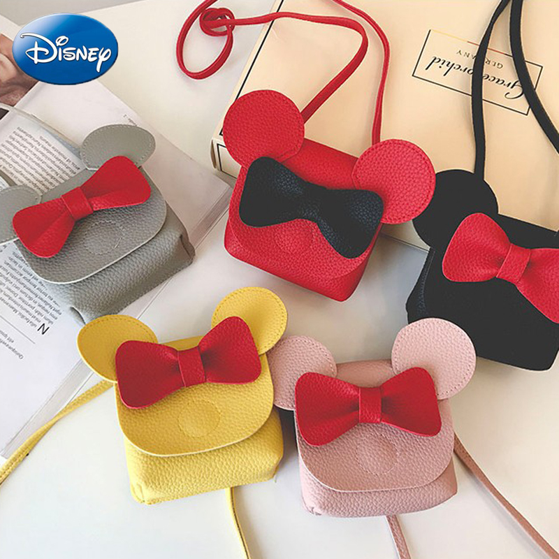 Disney Mini Bag Mickey Mouse Pu Handbag Cartoon Kids Shoulder Bags Girls Leisure Fashion Crossbody Satchel Lady Travel Plush