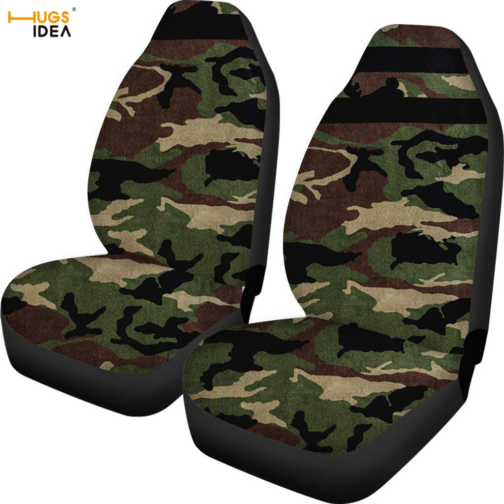 HUGSIDEA 2Pcs Army Green Camo Print Car Seat Cover Multi Color SUV Front Seat Protect Sheet Elastic Polyester Vehicle Seat Case