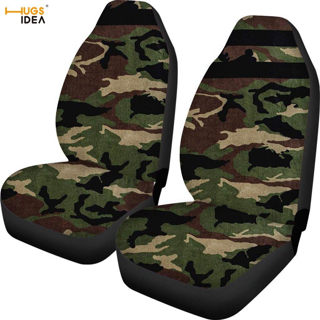 Capa de Assento do Carro Assento do Veículo Hugsidia Exército Verde Camo Impressão Multi Cor Suv Assento Dianteiro Proteger Folha Elástica Poliéster Case 2 Pçs