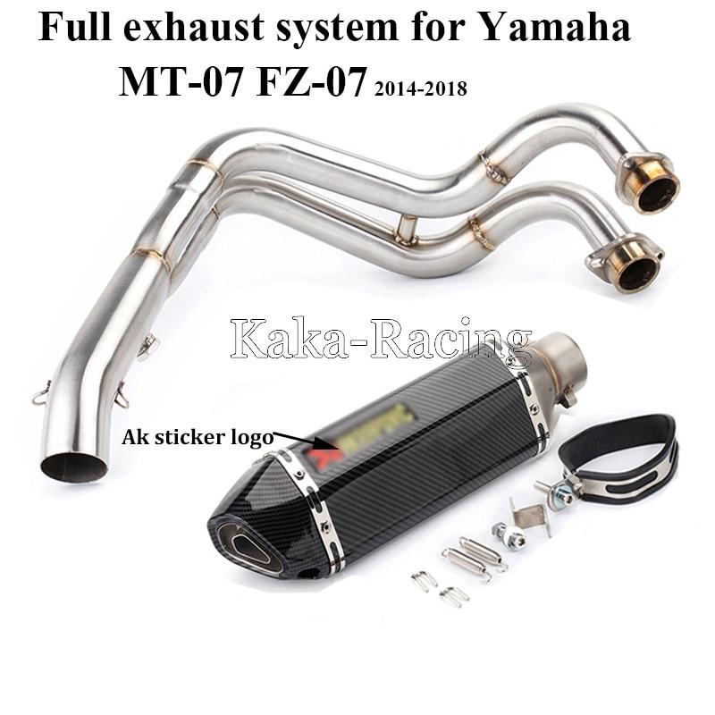 MT-07 moto système d'échappement complet tuyau de sans lacet + Ak d'échappement silencieux d'échappement queue d'échappement pour Yamaha MT07 FZ07 Tracer 2014-2018 XSR700