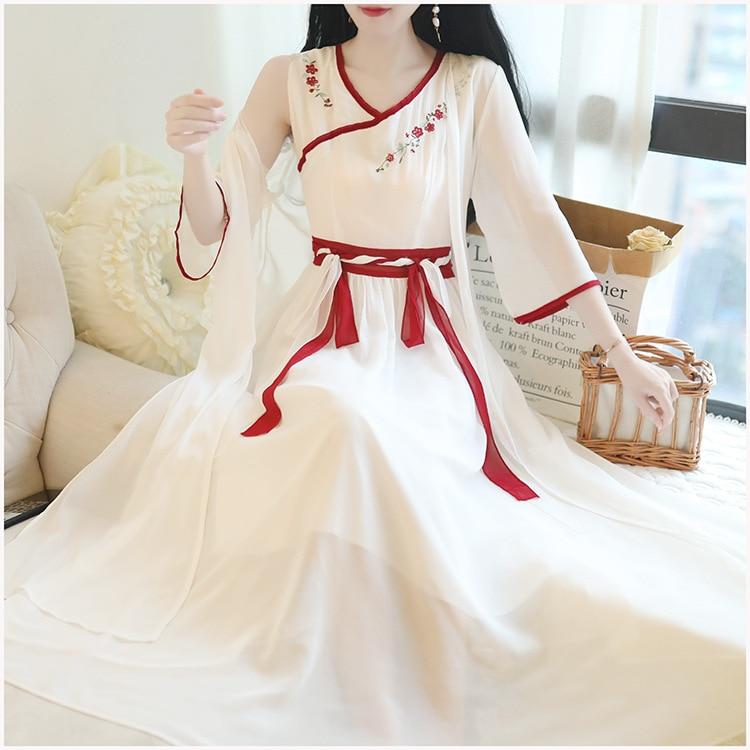 1256 Retro Elegant Immortal Women Dress National Wind Embroidery Flowers Chinese Clothing Dress Chiffon Cardigan Two-Piece Set