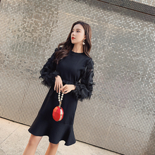 2019 fall Large size women clothing knitted dress autumn winter new sweater dress knee length fishtail o neck long sleeve sexy new women slash neck irregular hem cashmere sweater dress long sleeve knee length knitted mermaid dress spring autumn bottoming