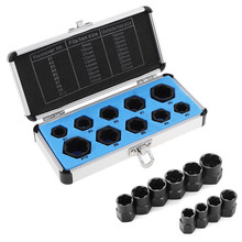 10pcs Low Cased Damaged Bolts Nuts Screws Remover Extractor Removal Tools Set Threading Tool Kit 9-19mm Broken Bolt
