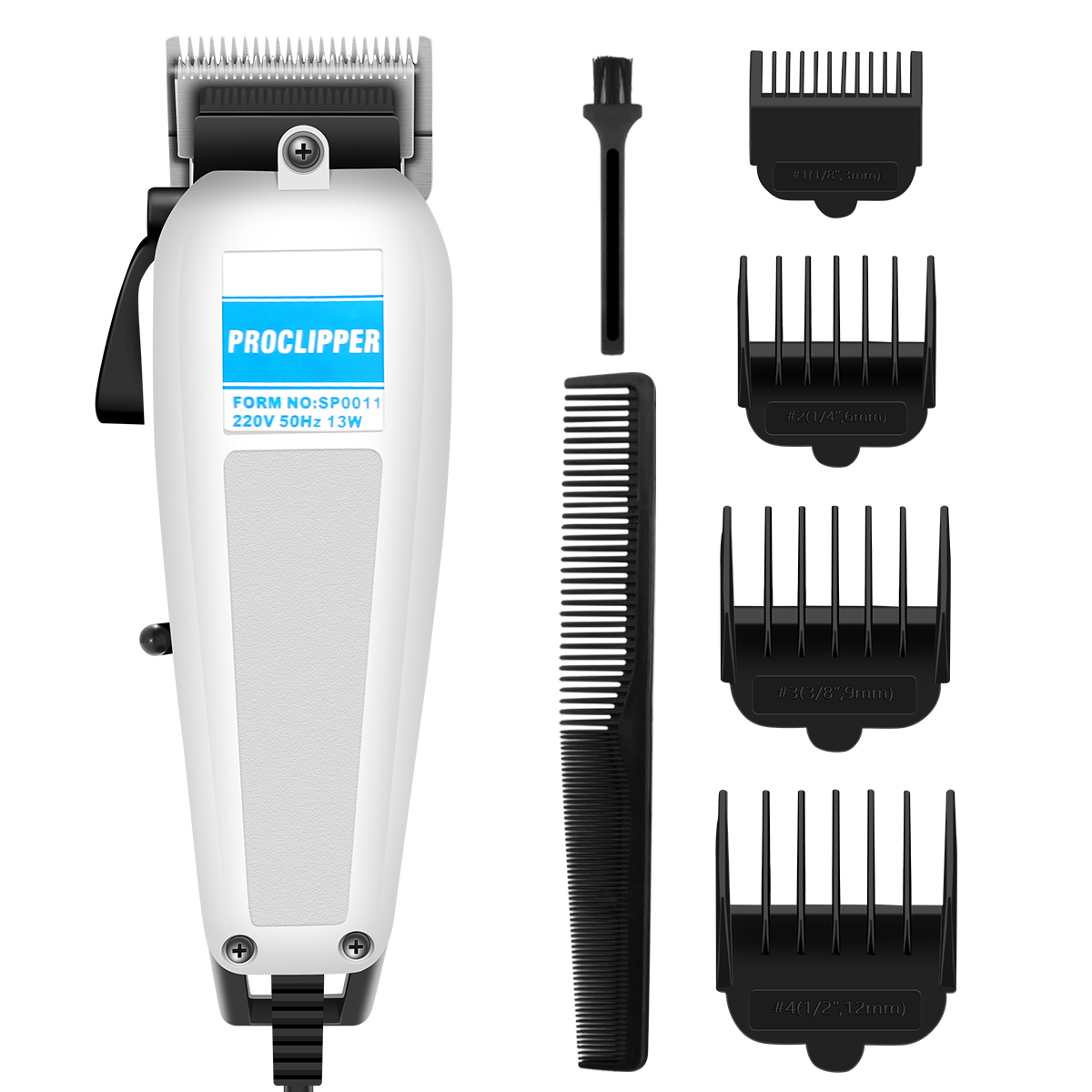 Men Electric Hair Beard Shaver Clipper Hair Trimmer Cutting Rechargeable Low Noise Machine With 4 Guide Combs EU Plug