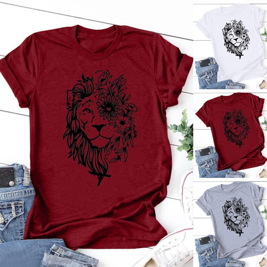 Mode Frauen Sommer Beiläufige Lose Kurzarm T-shirt Gedruckt Kurzen Ärmeln Casual Einfarbig Grundlegendes Leibchen Für Weibliche