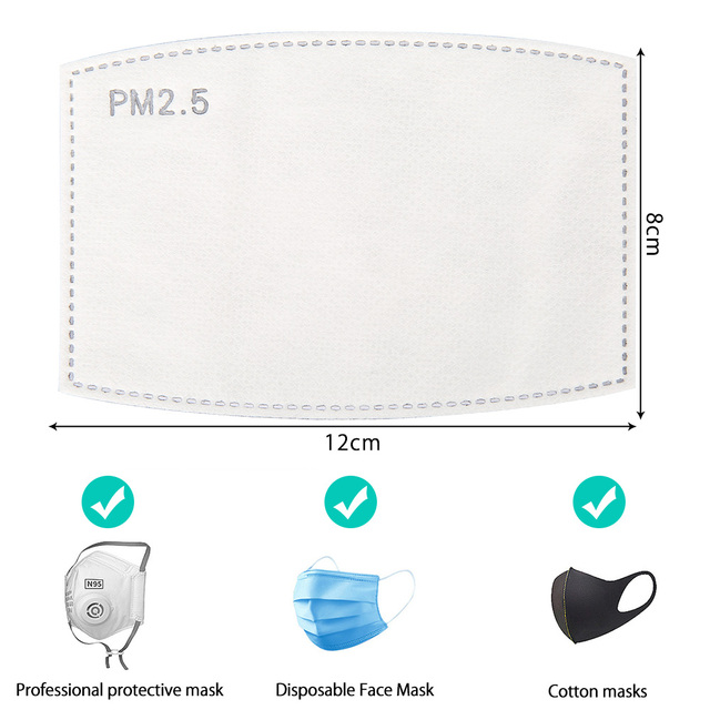 100PCS 5 Layers PM2.5 Activated carbon filter Windproof Mouth-muffle Protective Filter Media Insert for mouth Mask 5