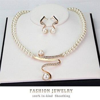 3pcs/set Women Bridal Elegant Wedding Party Pearl Rhinestone Necklace Earrings Jewelry Set New Fashion