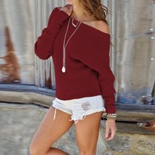 Red Off Shoulder Sweater Bat Sleeve Slim Strapless Casual Loose Pullover Women Sexy Solid Knitted Top Plus Size XL 2019 Autumn dark grey off shoulder bat wing sleeves sweater