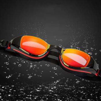 Profesjonalne kolorowe gogle pływackie duże ramki poszycia okulary pływackie przeciwmgielne wodoodporne gogle pływackie UV dla mężczyzn tanie i dobre opinie Silikonowe Pływać Poliwęglan MULTI ZY-8710