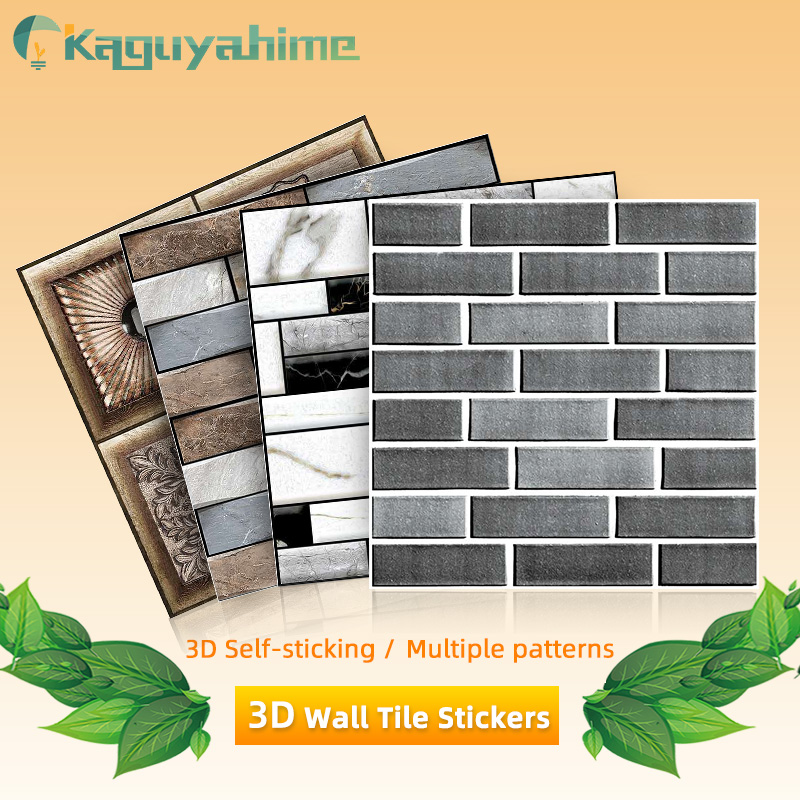 Kaguyahime-pegatinas de pared autoadhesivas 3D, papel tapiz impermeable con patrón de piedra, Panel de pared para decoración del hogar, papel de pared para sala de estar