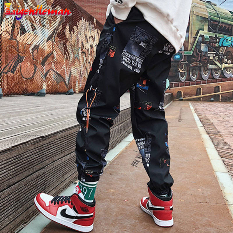Men Hip Hop Pants Men Loose Joggers Print Streetwear Men Casual Fitness Pants Couples Harem Pants Ankle Length Trousers