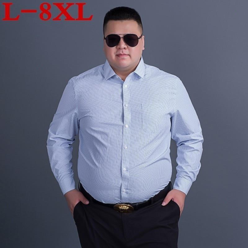 Plus Size 8XL  7XL 6XL Brand-clothing Shirt Male Flax Dress Shirts Fit Turn-down Men Short Sleeve Mens Hawaiian  Shirt  Big Size
