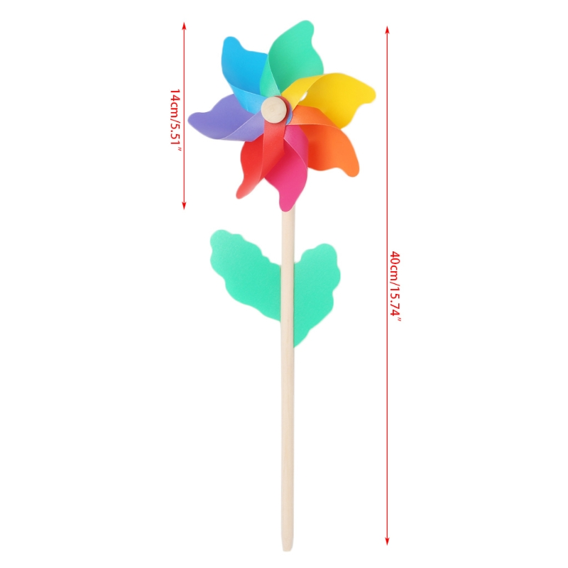 Windmill Kid Toys Wood Stick Lawn Yard Garden Ornaments Colorful Outdoor Spinner