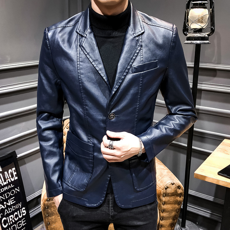 2019 MEN'S Leather Coat Suit Collar Korean-style Slim Fit Casual PU Leather Jacket Spring And Autumn Thin Coat