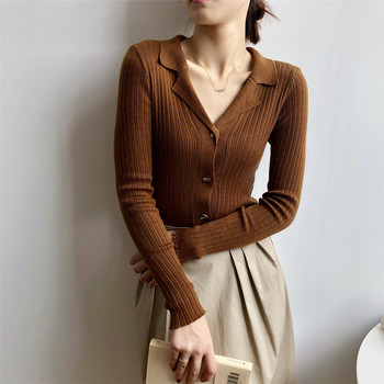 2020 Autumn New Solid Color Suit Neck Long Sleeve Bottom Tops Slimming Knitted Sweater Cardigan Woman Pulls Femme slimming v neck color splicing patch pocket long sleeves cardigan for men