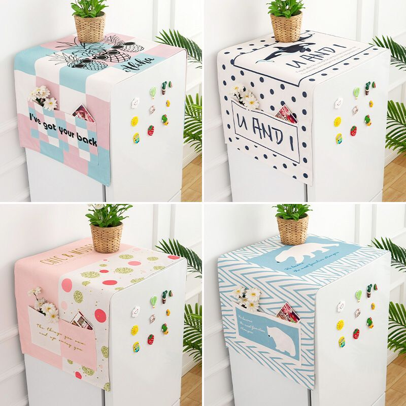 Cover Cloth Of Single Door Refrigerator Dustproof Cloth Washing Machine Waterproof Oil Proof Cotton Linen Cover Cloth