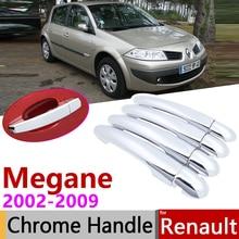 Dla Renault megane ii MK2 2 2002 ~ 2009 chromowana pokrywa klamki drzwi naklejki do samochodów zestaw wykończeniowy 2003 2004 2005 2006 2007 2008