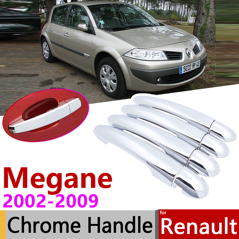 for Renault Megane II MK2 2 2002 2009 Chrome Door Handle Cover Car Accessories Stickers Trim Set 2003 2004 2005 2006 2007 2008