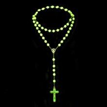 Plastic Rosary Beads Cross-Necklace Catholicism Glow-In-Dark Luminous-Noctilucent Religious Jewelry