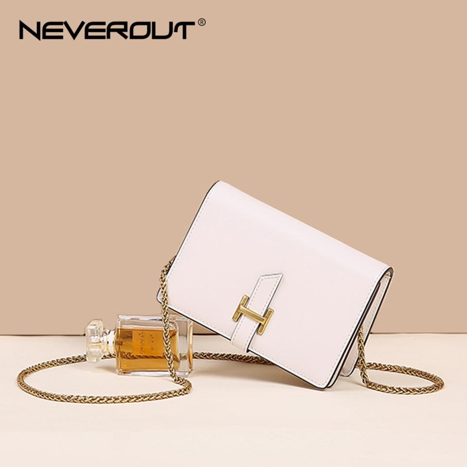 NEVEROUT Women's Leather Bag Summer Mini Messenger Bag Fashion Flap Bags Small Chain Shoulder Sac Cross-body Black/White/Brown