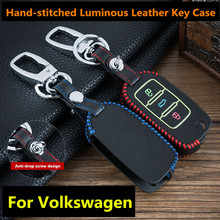 For VW Volkswagen Jetta Golf 4 5 6 Polo Bora Passat B Luminous 3 Buttons Leather Car Flip Key Cover Remote Fob Holder Case Shell new 3 buttons flip folding remote car key shell for vw volkswagen golf mk6 tiguan polo skoda octavia replacement blank case fob