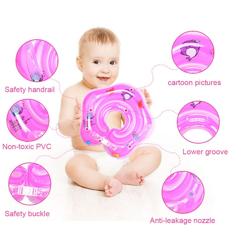 Baby Swimming Accessories Neck Ring Tube Safety Infant Float Circle For Bathing Inflatable Flamingo Inflatable Water Dropships