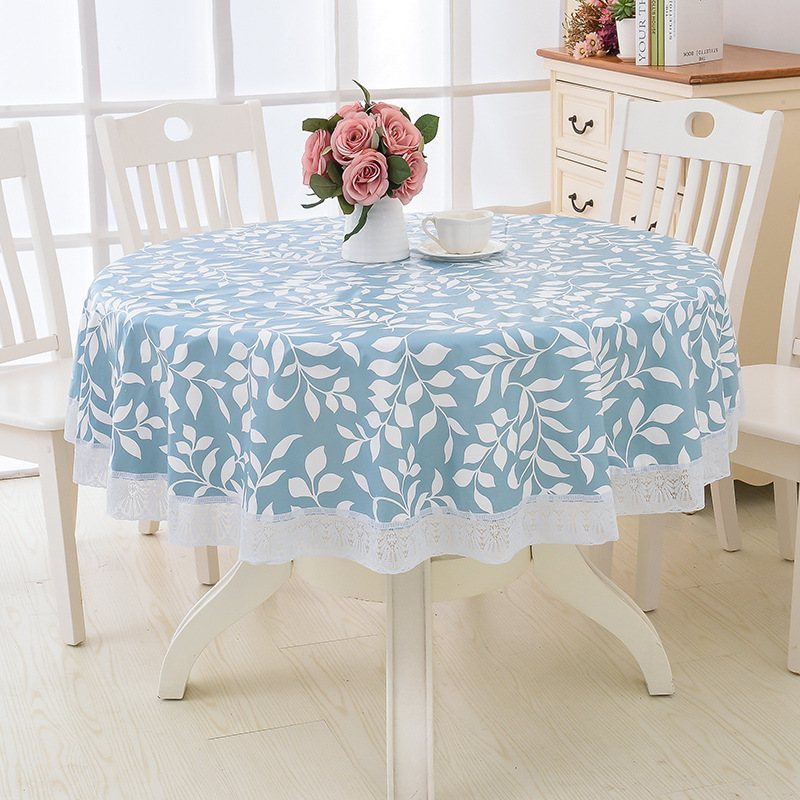 Nappe de Table ronde Style fleur pastorale PVC nappe de cuisine en plastique résistant à l'huile décorative élégante couverture de Table en tissu imperméable