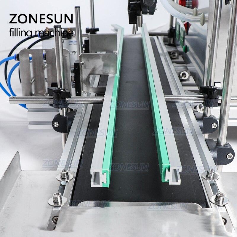 ZONESUN w pełni automatyczny pulpit maszyna do napełniania cieczą CNC z przenośnikiem nalewarka do butelek perfumy sok mleko wlew wody