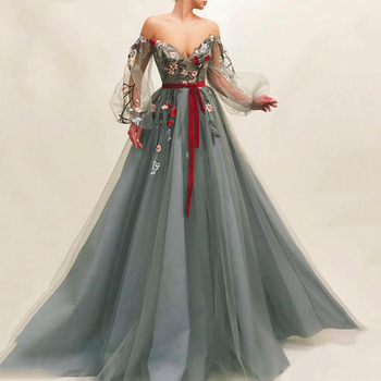 Eightree Grey V Neck Evening Dresses Long Puff Sleeve Lace Prom Dress Robe de Soiree Flowers Tulle Arabic Formal Party Dress eightree moroccan kaftan evening dress long sleeves lace appliques muslim prom dress arabic formal party dresses robe de soiree