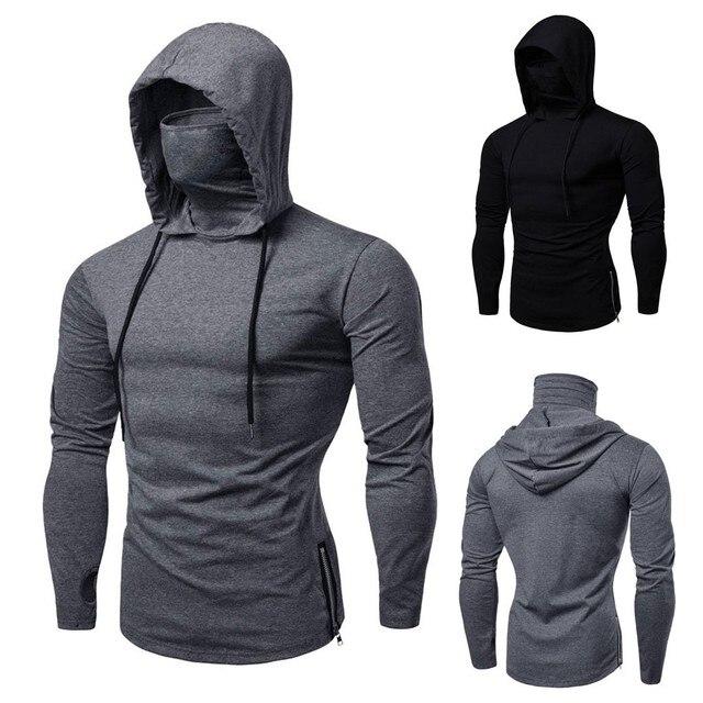 Mens Gym Thin Hoodie Long Sleeve Hoodies With Mask Sweatshirt Casual Splice Large Open-Forked Mask Hoodie Sweatshirt Hooded Tops 1