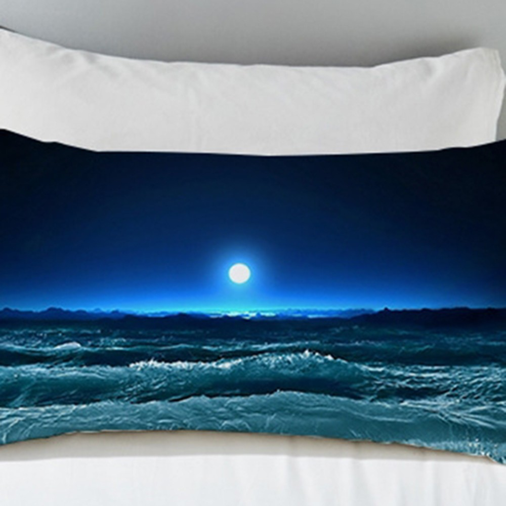 2019 2pcs Moon Ocean Pillowcase Blue Printed <font><b>Pillow</b></font> <font><b>Case</b></font> 3D Landscape Bedding <font><b>Pillow</b></font> Cover Luxury 50x75 <font><b>50x90cm</b></font> image