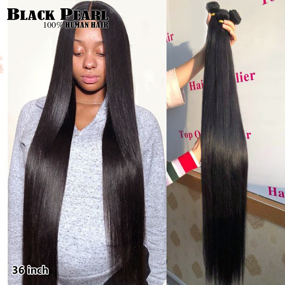 Black pearl <font><b>30</b></font> <font><b>32</b></font> 34 <font><b>36</b></font> 38 <font><b>40</b></font> inch Bundles Peruvian Hair Weave Bundles 100% Straight Human Hair Bundles Remy Hair Extensions image