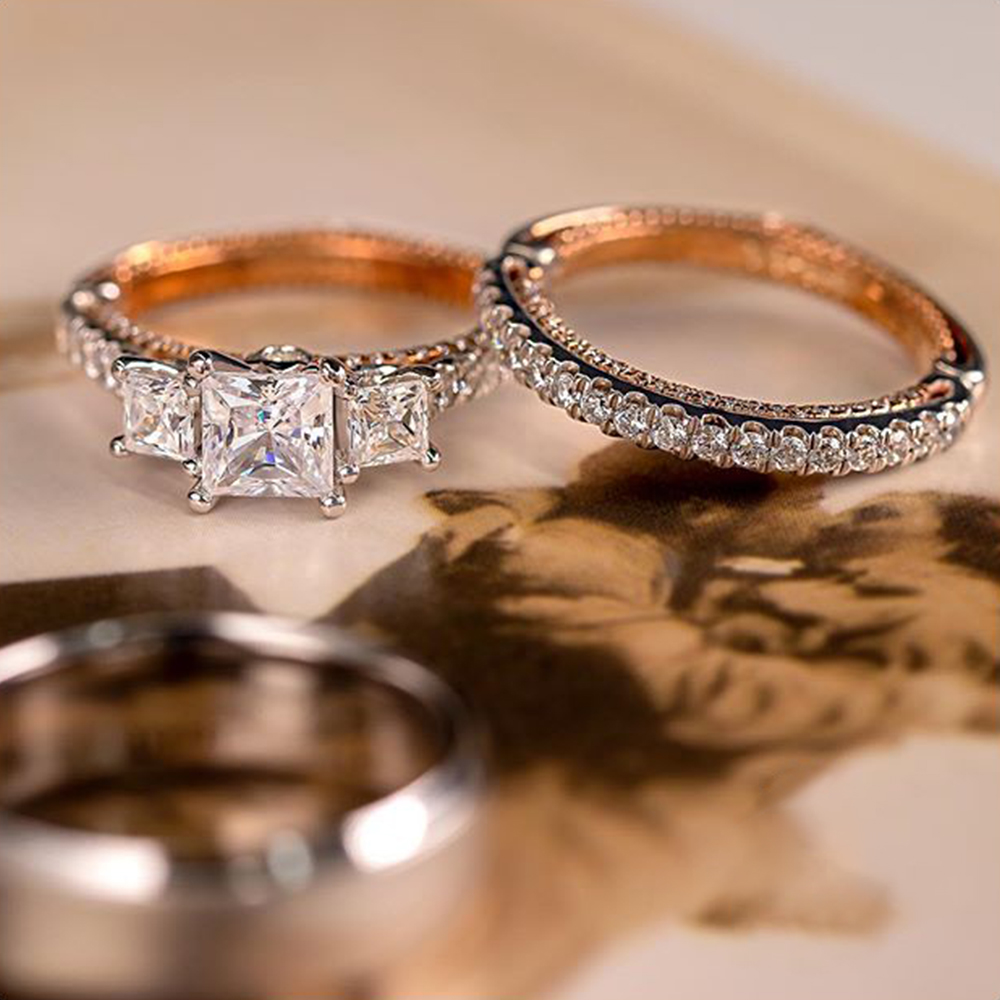 Huitan шикарный свадебный комплект ювелирных изделий 3 шт. Кольца Два Тона Блестящий кубический цирконий камень геометрический Форма высокое ...