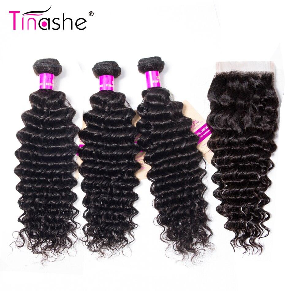 Tinashe Hair Deep Wave Bundles With Closure Brazilian Hair Weave Bundles With Closure Remy Human Hair 3 Bundles With Closure