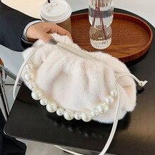Pearl Handbag Crossbody-Bag Cloud Small Fashion Women's Brand Designer Fur Simple