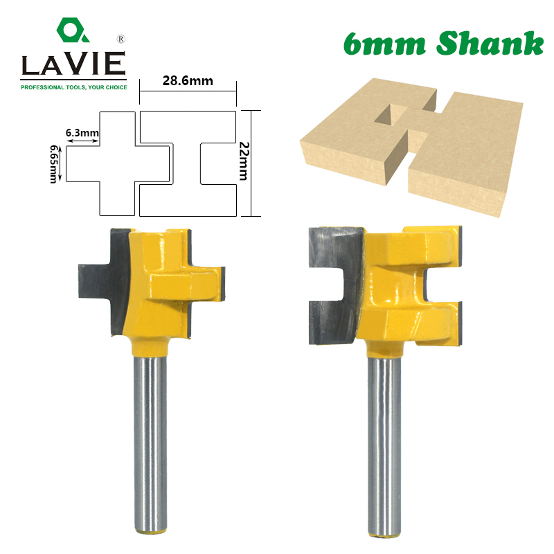 LAVIE 2pcs 6mm Shank T-Slot Tenon Milling Cutter Carving Knife Square Tooth Router Bits For Wood Tool Woodworking MC01004-6
