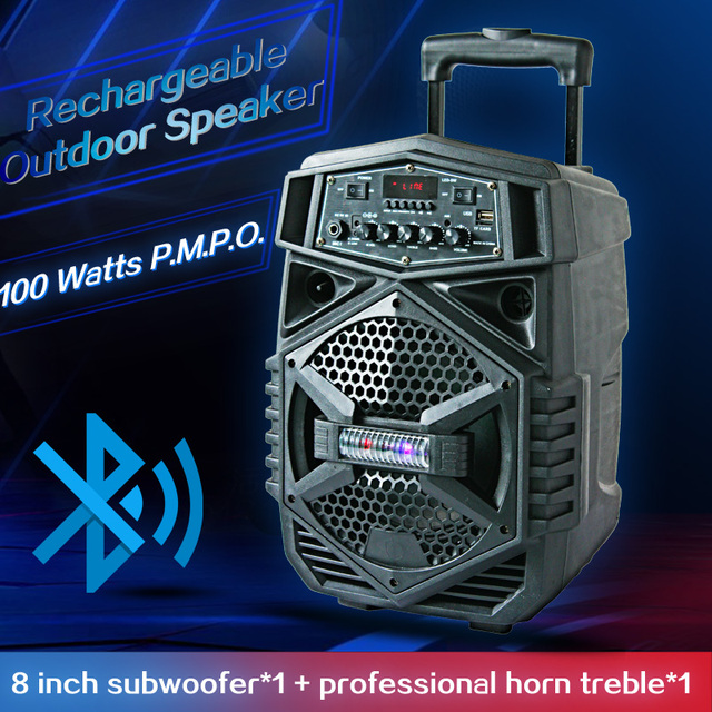 Portable Outdoor Party Subwoofer Bluetooth Battery Speaker Big Power 8 Inch Trolley Speaker LED Light Music Amplifier