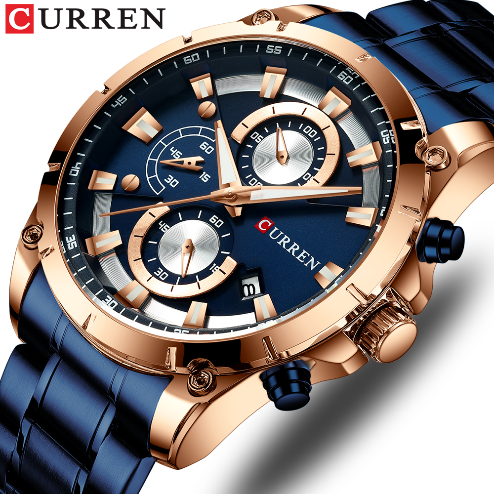 CURREN Men's Watches Top Brand Luxury Watch Men Military Steel Sports Watches Waterproof Quartz Wristwatches Male Clock