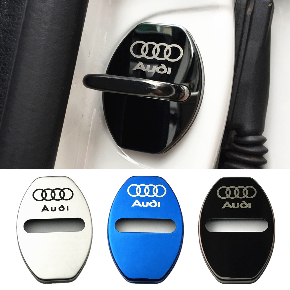 4pc Stainless Steel Car Door Lock Protecting Cover Sticker For Audi A3 A4 A5 A6 A7 A8 B5 B6 B7 B8 C6 C7 C8 8v 8p Car Accessories