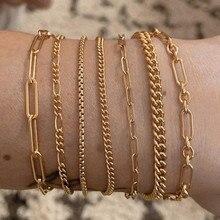 Vnox – Bracelets à chevrons en chaîne de serpent pour femmes, bijoux fins en acier inoxydable, simples et ajustables