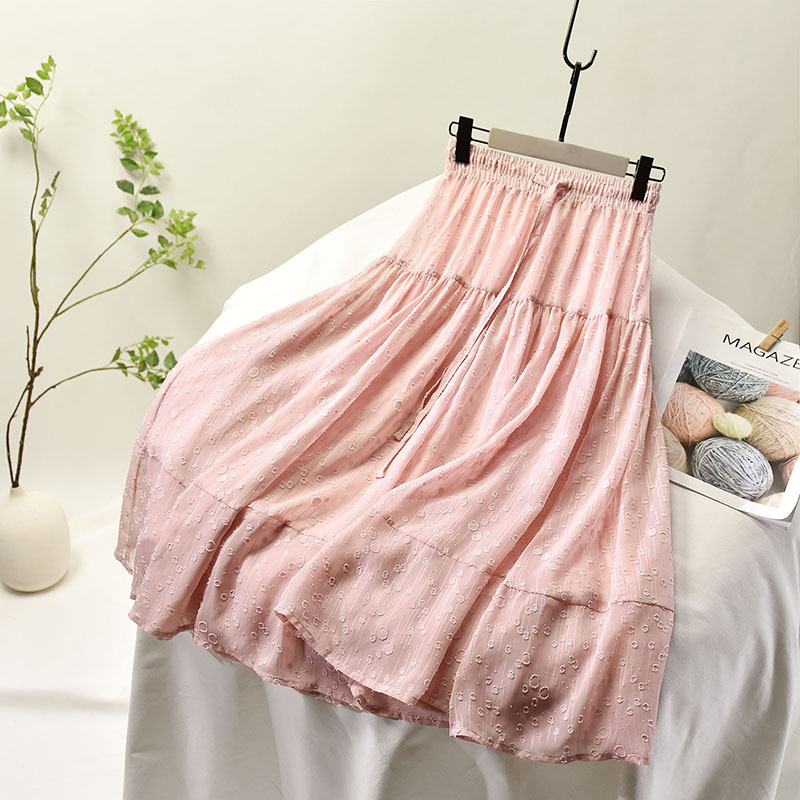 Ladies Elastic High Waist Women Tulle Skirt Solid Spring Summer Holiday Casual Soft Mesh Skirts Womens A Line Long Skirt Female