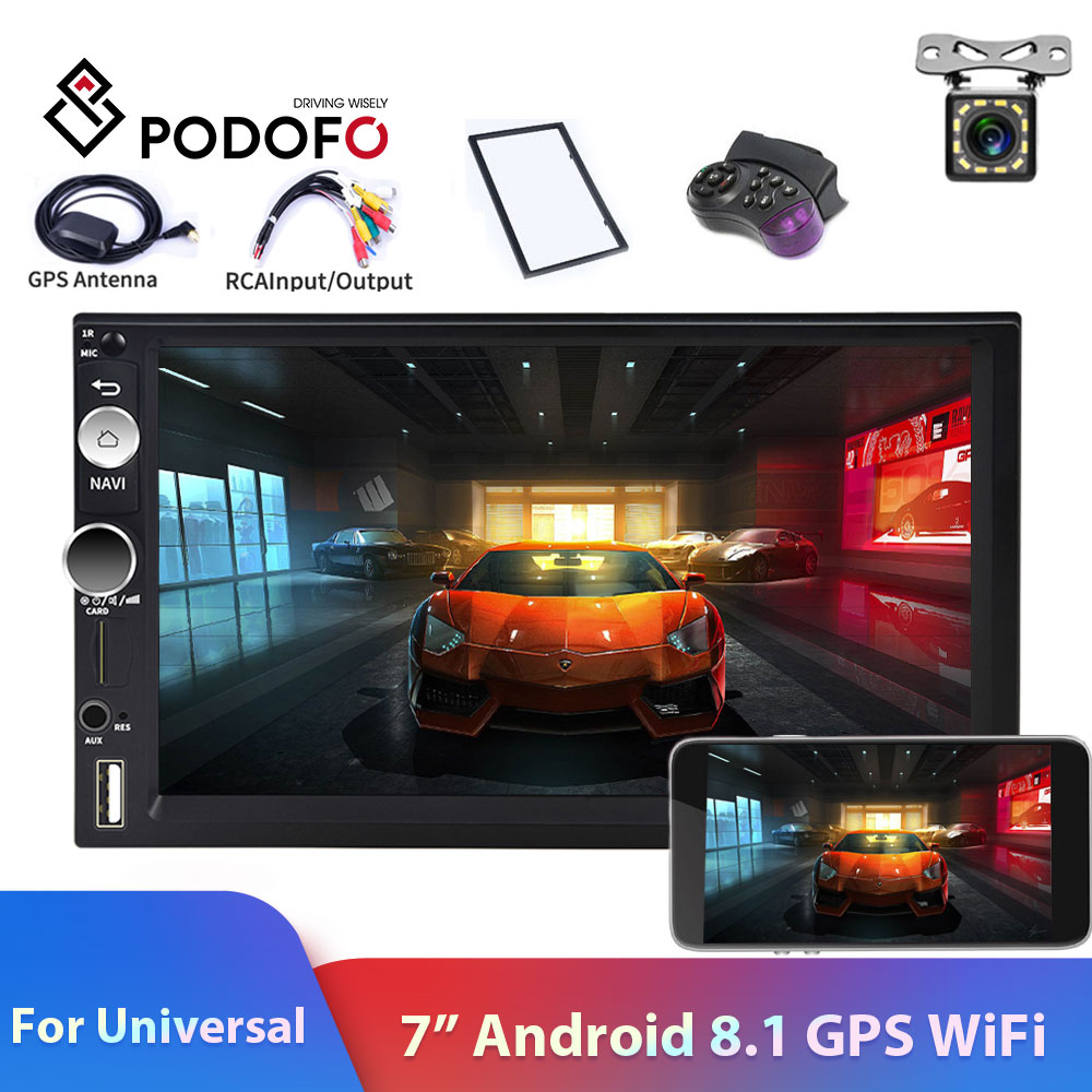 Podofo 2din Car Radio Android 8.1 GPS WiFi <font><b>USB</b></font> Car Multimedia Player For Universal For Volkswagen Nissan toyota <font><b>Golf</b></font> Car Stereo image