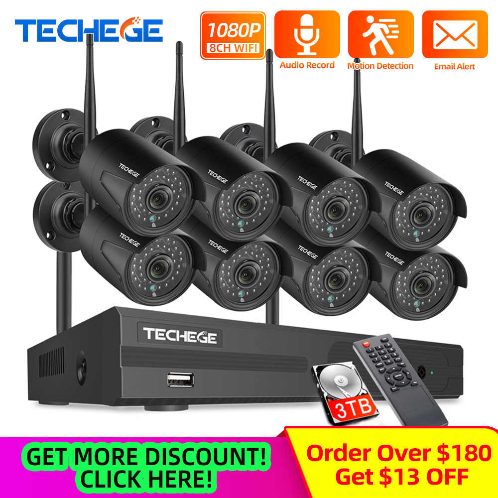 Techege 8CH System bezpieczeństwa CCTV zestaw 1080P HD Audio bezprzewodowy zestaw monitoringu NVR Outdoor Night Vision Security kamera IP wtyczka wi-fi i Play